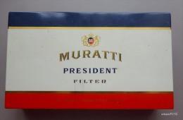 Ancienne Boite Métal Cigarettes  MURATTI  PRESIDENT - Boites à Tabac Vides