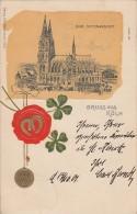 Prägekarte Gruß Aus Köln Dom Seitenansicht Gel. 17.10.01 - Köln