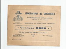 AURILLAC (CANTAL) CARTE DE VISITE ANCIENNE DE LA MANUFACTURE DE CHAUSSURES CHARLES BAUER 12 RUE DU PRINCE - Visiting Cards