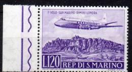1959 S. Marino Volo Rimini Londra Aerea N 128 Integro MNH** - Luchtpost