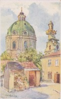 Wien 4 Wieden Künstlerkarte Hofecker Karlskirche Mit Alten Hof - Vienna