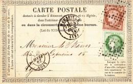 CP Précurseur [OFF 3] Avec Y&T 53 + 54 Obl GC 2240 + MARSEILLE Du 24.02.1874 Adressée à Lyon - Marcophilie (Lettres)