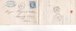 336-  LAC   CERES  60   De MERY SUR SEINE  à  MARCILLY 7.4.1873 - Marcophilie (Lettres)