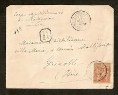 Madagascar: Recommand� pour Grenoble 1895,Aff 40c N� 94,Corps exp�ditionnaire, rare