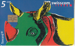 """SWITZERLAND - Rhino, Save the Animals/Apprentices"""" Competition 2000, chip GEM3.3, 01/02, used"""