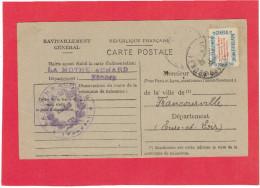 LA MOTHE ACHARD 1946 CARTE DE RAVITAILLEMENT GENERAL AVEC VIGNETTE AFFRANCHISSEMENT POUR THIROUIN DE FRANCOURVILLE - La Mothe Achard