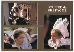 Sourire De Bretagne - Jeunes Filles En Costume De QUIMPER VANNES FOUESNANT - écrite Et Timbrée (pour Jeux) - 2 Scans - Fouesnant