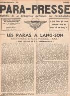 PARA PRESSE BULLETIN PARACHUTISTE 1953 GUERRE INDOCHINE LANG SON BERET ROUGE  TAP - French