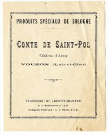 41 VOUZON  COMTE DE SAINT PAUL  CHATEAU D AMOY  -  PRODUIT SPECIAUX DE SOLOGNE TARIF 1929  4 PAGES - Publicités