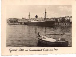 Photo Originale de Bateaux - Paquebot Le Commandant Qu�r� au Port - Ajaccio - Corse - dpt. 20000 - Cachet M.Bonaparte -