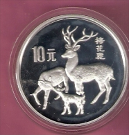 CHINA 10 YUAN 1989 SILVER PROOF SKIA DEER - Chine