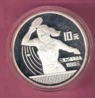 CHINA 10 YUAN 1991 OLYMPICS SILVER PROOF WOMAN PLAYING TABLE TENNIS 30000 PCS. - Chine