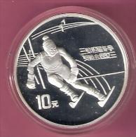 CHINA 10 YUAN 1991 OLYMPICS SILVER PROOF SKIER DOWNHILL 30000 PCS. - Chine