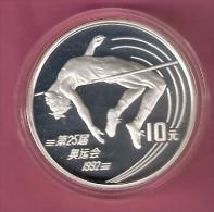 CHINA 10 YUAN 1990 OLYMPICS SILVER PROOF WOMAN HIGH JUMPING 30000 PCS. - Chine