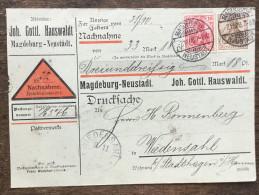 A1 Deutsches Reich Allemagne Germany 1908 Nachnahme Contre-remboursement Magdeburg-Neustadt Nach Wiedensahl - Briefe U. Dokumente