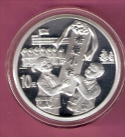 CHINA 10 YUAN 1999 1 0Z SILVER PROOF 10TH ANN. HOPE PROJECT, CHILDEREN HOLDING PLAQUE 60000 PCS. - Chine