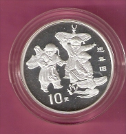CHINA 10 YUAN 1998 31.47 GR SILVER PROOF CELEBRATING SPRING CHILDREN FLY KITES 60000 PCS. - China