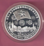 CHINA 10 YUAN 1997 1 OZ. SILVER PROOF TIANANMAN SQUARE CITY VIEW, FOUNDING HONG KONG 88000 PCS. - Chine