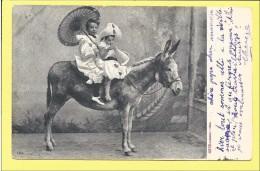 CPA Enfant Sur Ane 1904 ( Dos Simple ) - Ezels