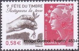 France N° 4534 ** MARIANNE De BEAUJARD - Fête Du Timbre 2011 - Protégeons La Terre - France