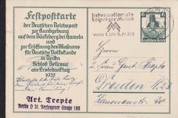 """DR 33 Bis 45: GS-Festpost-Karte 6+4 Pfg  """"Nothilfe 1935"""", Berlin 4.3.36 Nach Dresden  Knr: P 255 - Deutschland"""