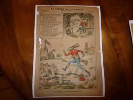 Vers 1900  Imagerie De Pont-à-Mousson  Marcel Vagné Et Ses Fils   N° 1230   LE LIEVRE ET LA TORTUE (La Fontaine) - Vieux Papiers