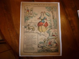 Vers 1900 Imagerie De Pont-à-Mousson, Marcel Vagné Et Ses Fils N° 1227  LA LAITIERE ET LE POT AU LAIT (La Fontaine) - Vieux Papiers