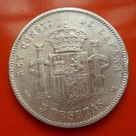 Spain 5 Pesetas 1884 MS M Silver - Primi Conii