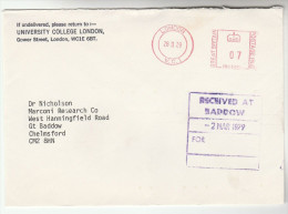 1979 UNIVERSITY COLLEGE LONDON To MARCONI RESEARCH LAB Gt Baddow  GB Meter Stamps COVER Telecom Radio - Telecom