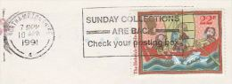 1991 COVER Slogan SUNDAY COLLECTIONS ARE BACK, CHECK  YOUR POSTING BOX  Post Gb Stamps Fish - Post