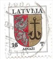 Latvia - Sea town  Small City Ainazi Logo 16  Sant -1995 Year Used Stamp (o) Sea anchor - Latvia