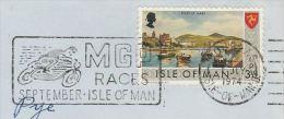 1974 ISLE OF MAN Stamps COVER SLOGAN Pmk MGP RACES Illus MOTORBIKE  Motorcycle Sport - Motorbikes