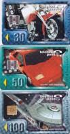 Estonia, ET 063 - 065, Set Of 3 Cards, Motor Cycle, Car, Space Ship, 2 Scans. - Estonia