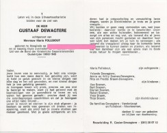 Dewagtere Gustaaf  Follebout Maria Vanderjeugt Meersseman Hooglede Bidprentje Doodsprentje - Religione & Esoterismo