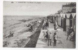 LANGRUNE EN 1928 - N° 1 - LA PLAGE ET LA DIGUE AVEC PERSONNAGES - CPA  VOYAGEE - Autres Communes