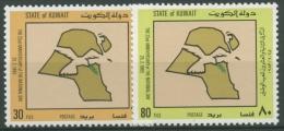 Kuwait 1983 Nationalfeiertag: Taube, Landkarte 995/96 postfrisch