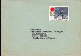 2- MARTINIQUE De Yougoslavie Timbre Annulé Griffe LE CARBET - Martinica (1886-1947)