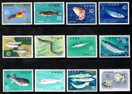 Japan 1966 Set/12 Lobster,Fish And Various Sealife  860-71 - Nuevos