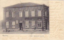 Ramillies  Café Restaurant Huvenne Bien Animée Circulé En 1906 - Ramillies