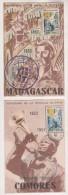 MILITARIA -  4 CARTES MEDAILLES MILITAIRES - ALGERIE, COMORES, MADAGASCAR ( 2 ) DIFFERENTS CACHET- VOIR LES SCANNERS - France