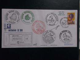 E.esa Ariane 44lP V38 Eme Tir  Cachet Des Stations Kourou CAYENNE N° 114. 24/7/90 LOLLINI Signée - Unclassified