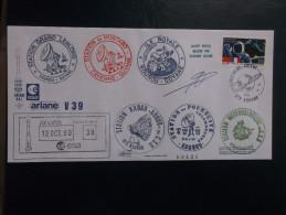 E.esa Ariane 44l V39 Eme Tir  Cachet Des Stations Kourou CAYENNE N° 120. 12/10/90 LOLLINI Signée - Unclassified