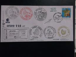 E.esa Ariane 42p V40 Eme Tir  Cachet Des Stations Kourou CAYENNE N° 138. 20/11/90 LOLLINI Signée - Unclassified