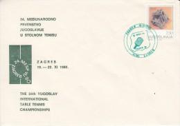 TABLE TENNIS-TISCHTENNIS-PING PONG-TENNIS DE TABLE-TENNIS TAVOLO, YUG, 1980, Special Postmark !! - Table Tennis