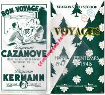 33 - BORDEAUX- VOYAGES 1947-1948- COURS INTENDANCE-MAROC-ALGERIE-TUNISIE-ALPES-LOURDES-COOK-CORSE- - Dépliants Touristiques
