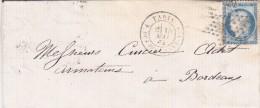 266-  LAC   CERES 60  ETOILE  De  PARIS  à  BORDEAUX  18.9.1873 - Marcophilie (Lettres)