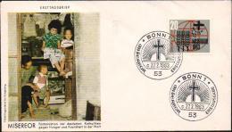 Deutschland 1963 Ersttagsbrief Michel 391 Misereor Kampf gegen Hunger und Krankheit in der Welt, Bonn
