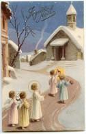 Joyeux Noël - Anges Et Petit Jésus Se Dirigent Vers Une église Dans La Nuit étoilée - écrite Non Timbrée 2 Scans - Noël