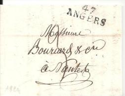 ANGERS 47  Marque Linéaire Sur Une Lettre De 1824 - 1801-1848: Precursores XIX