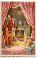 Joyeux Noël - Père Noël Et Lutin Posent Les Jouets Devant La Cheminée, L´enfant Dort - écrite Non Timbrée 2 Scans - Santa Claus